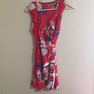 Dresses & Skirts - Red floral wrap dress